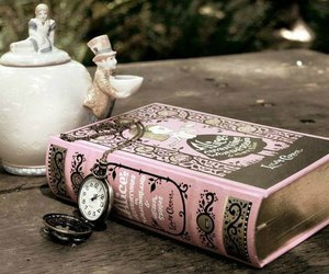 book, alice in wonderland, and tea image
