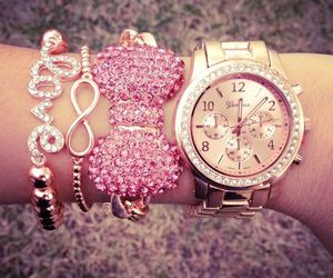 pink, watch, and bracelet image