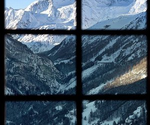 mountains, window, and view image