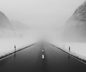 road, snow, and black and white image