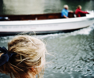 girl, hair, and boat image