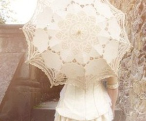 white, lace, and parasol image