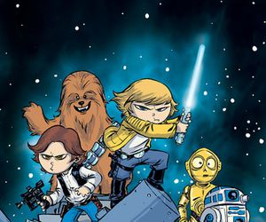 c3po, chewbacca, and han solo image