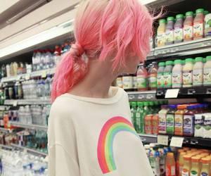 girl, rainbow, and pink image