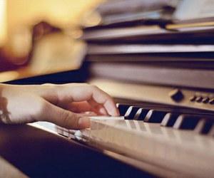 piano, music, and hand image