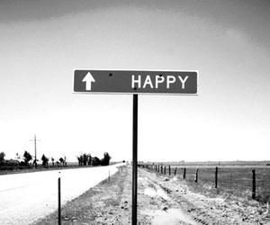 happy, road, and black and white image