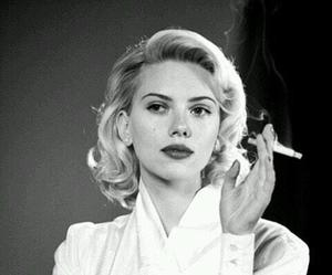 Scarlett Johansson, smoke, and cigarette image
