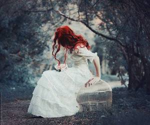 girl, white, and red hair image