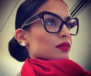 glasses, red, and beauty image