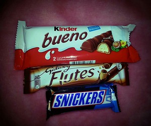 galaxy, kinder, and snickers image
