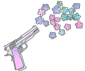 flowers, colors, and gun image