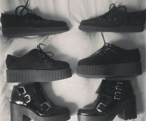 shoes, black, and creepers image