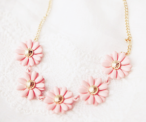 flowers, necklace, and pink image