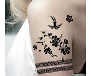 black, floral, and hair image