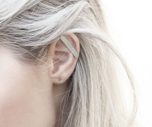 hair, white, and earrings image