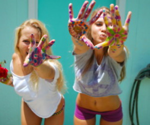blonde, girls, and paint image