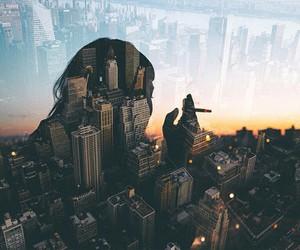 city, girl, and smoke image