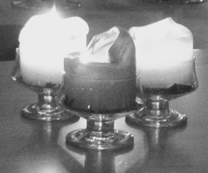 black and white, s, and candle image