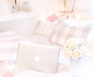 apple, pink, and bed image