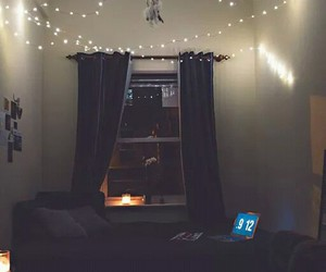 bedroom, lights, and window image