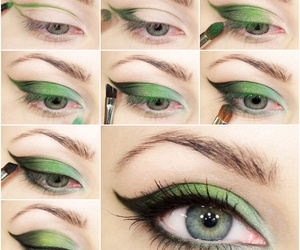 eyes, green, and makeup image