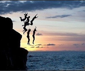 carpe diem, sea, and jump to touch the sky image