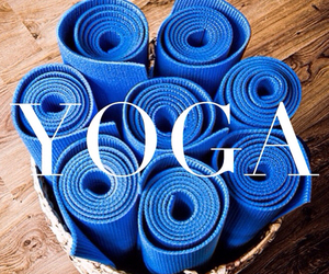 yoga, blue, and exercise image