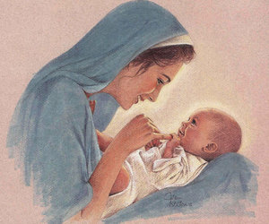 mother, baby, and jesus image