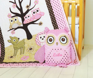 baby owl, owl pillow, and owl quilt image