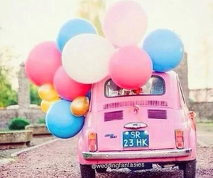 balloons, pink, and wedding image