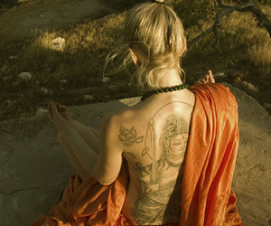 blonde, meditation, and tattoo image