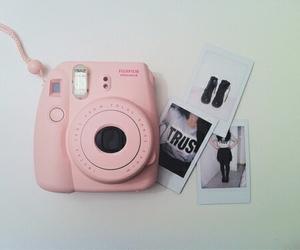 pink, camera, and polaroid image