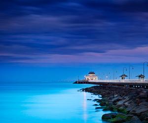 blue, jetty, and st kilda image
