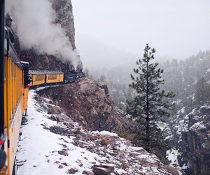 train, winter, and snow image