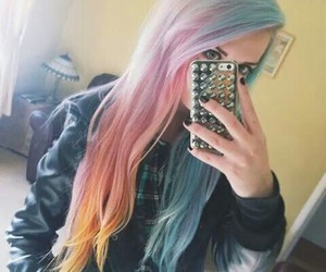 hair, pink hair, and blue hair image