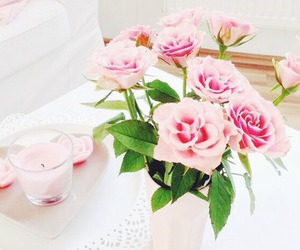 beautiful, candle, and pink image