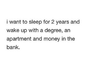 money, sleep, and quote image