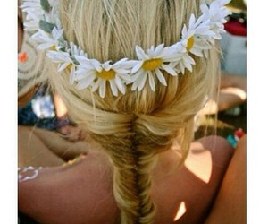 blonde, braid, and daisy image