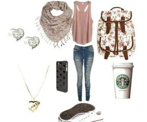 outfit, starbucks, and converse image