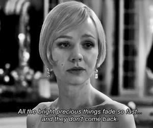 quote, the great gatsby, and black and white image