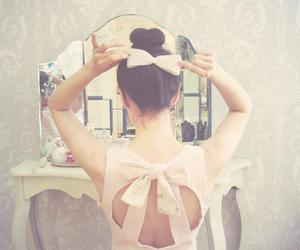 girl, bow, and pink image