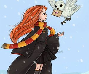 ginny weasley, harry potter, and owl image