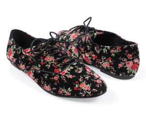 black, flowers, and shoes image