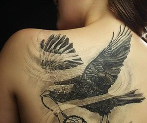 tattoo, black, and bird image