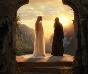 gandalf, galadriel, and lord of the rings image