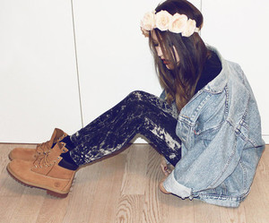 girl, style, and flowers image