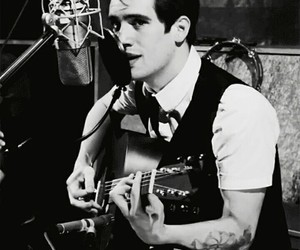 panic! at the disco, black and white, and brendon urie image