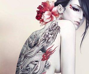 tattoo, art, and dragon image