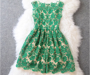 dress, green, and beautiful image
