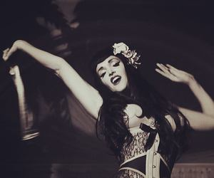 beautiful, black and white, and corset image
